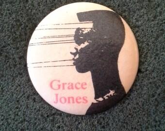 Unworn '80s GRACE JONES Button Original Dead Stock Vintage 1980s