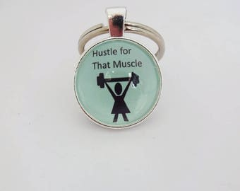 Hustle for that muscle,beast mode,gym rat,girls who lift,fitness,gift for her,gym bunny gift,lady beast,funny key fob, quote key ring