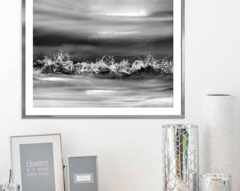 Large Ocean photography, Black and white Ocean print, Abstract black art, Coastal wall art, Ocean wave art, water black and white print