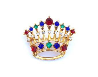 Rhinestone Crown Brooch ~ Vintage Royal Queen Diadem Jeweled Pin w/ Colorful Fruit Salad Rhinestones