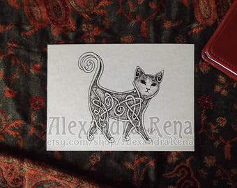 Celtic Knotwork Cat Art Print - 5x7