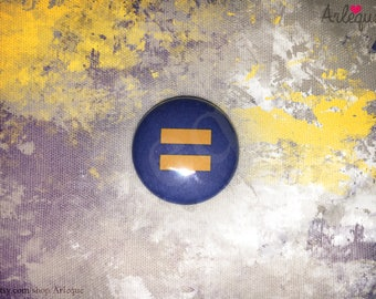 "Equality Symbol ( single 1"" pinback button / magnet )"