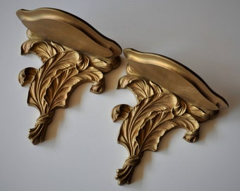 Vintage Wall Shelves Pair, Half Round Corbel Sconce, Gold Gilt Feather Design, Rococo Scrolls, Hollywood Regency, Paris Apartment Home Decor