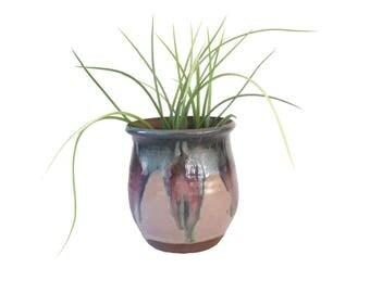 Beautiful Drip Glaze Stoneware Vase/ Planter Pot/ Glazed Ceramic Pottery/ Vintage Planter Mid Century Studio Artisan Clay Succulent Pot Boho