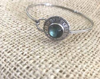 Silver Labradorite bracelet, labradorite bangle bracelet, Natural Labradorite Bracelet, Sterling Silver Bangle, Gemstone Bangle