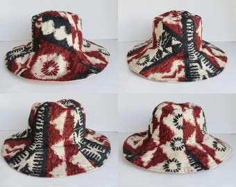 Ivory 70 Cotton Vintage Hat With Brown Black Print // Reversible // Size 56