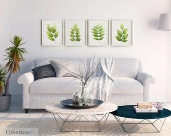 4 Piece wall art set, Botanical Gallery Wall Set of 4 Prints, Botanical Print Set, Living room wall decor, 4 Printable posters 14x18, 16x20