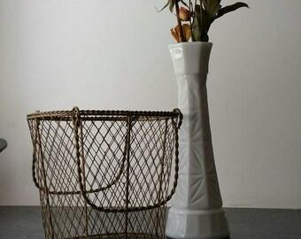Vintage Wire Basket Centerpiece, Rustic Decor Moveable Handles Basket  Organization Brass Basket Planter