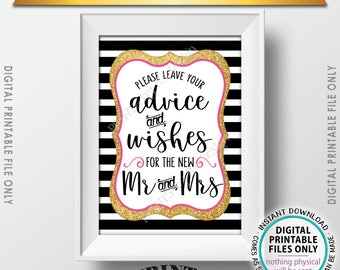 "Advice and Well Wishes, Leave your Advice and Well Wishes for the New Mr & Mrs, PRINTABLE Pink and Gold Glitter 5x7"" Wedding Sign <ID>"