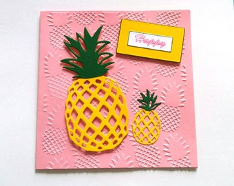 Yellow and pink pineapple with envelope, creating MLP card
