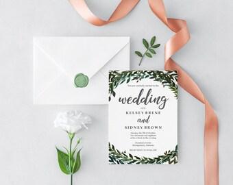 Evergreen Leaves Wedding Invitation Kit