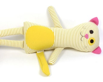 Organic Plush Toy Cat -- Poppy the Cat -- Organic Soft Stuffed Plush Cat -- White and Mustard Yellow Striped Toy Cat-- Plushie --Organic Toy