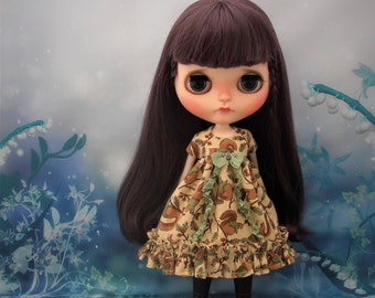 Blythe Dress ~ Squirrel Empire Ruffles & Shabby Bow ~ Blythe Doll Clothes Outfit Pure Neemo S Licca Pullip