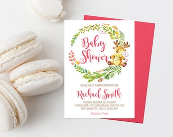 Christmas Baby Shower Invitation Printable Winter Baby Shower Invite Baby Sprinkle Invite Reindeer Baby Shower Invite Christmas Wreath 321