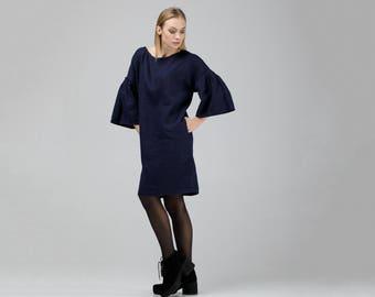 Dark Blue Linen Dress With Frill Sleeves / Loose Linen Dress / Oversized Dress / Knee Length Dress / Midi Dress / Maternity Dress / Black