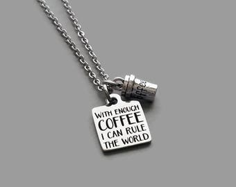 Coffee Charm Necklace, Coffee Lover Necklace, Coffee Jewelry, Coffee Addict, Coffee Lover Gift, Coffee Cup Charm, Stainless Steel
