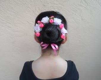 Rosebuds/Organza Flower Bun Wreath, Many Colors, Floral Bun Wrap, Ballet Headpiece, Bridal,Flower Girl. Bridesmaid, First Communion