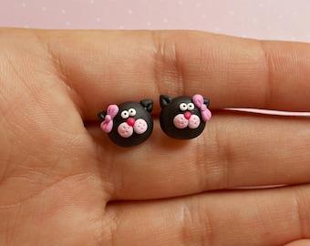 Cat Earrings - Black Cat Gift - Cat Lover Gift - Cat Studs - Cat Jewelry - Cat Jewellery - Pet Earrings - Gift for girlfriend