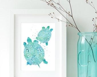 Turtle Art Print Watercolor // Turtle Wall Art // Turtle Lover Gift, Art for Kids Room // Watercolor Turtle Prints