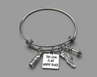 Gym Charm Bracelet, Gym Bracelet, The Gym Happy Place, Workout Charm, Exercise Bracelet, Fitness Bracelet, Fitness Jewelry, Stainless Steel