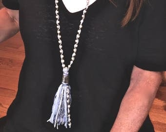 Necklace, large, tassel, fabric, string, metallic thread, faux, white, pearl, and gunmetal, rosary, chain, with woven, pale, blue, silk