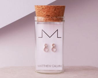 Tiny Dual Tube Studs, Tube Earrings, Sterling Silver Studs, Simple Earrings, Dainty Studs, Delicate Earrings, London Design