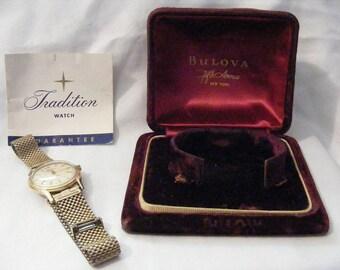 Vintage Bulova Tradition Self Winding Mens Wrist Watch IOB