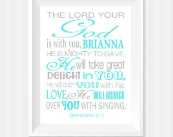 Baptism Gift, The Lord Your God Bible Verse Wall Art, Zephaniah 3:17 Wall Art, Scripture Art, Baby Girl Nursery, Personalized Gift, Child