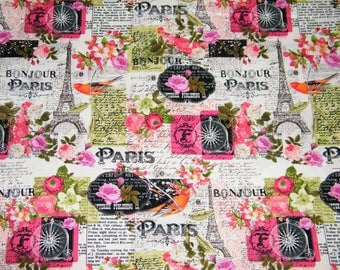 BTY SPRINGTIME in PARIS - Eiffel Tower, Flowers Print 100% Cotton Quilt Crafting Fabric by Yard