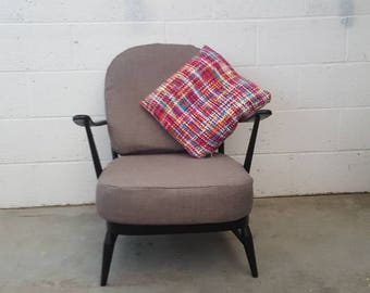 Beautiful Black Mid Century Ercol 252 Armchair - new webbing and upholstery