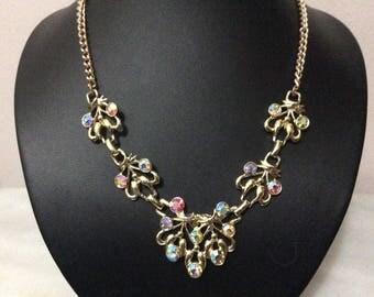 Vintage Exquisite aurora borealis rhinestone necklace