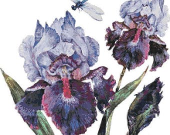 iris with dragonfly Cross Stitch Pattern Watercolor pattern needlepoint needlecraft -220x244 stitches- INSTANT Download - B1514