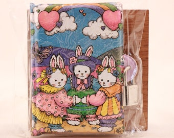 New! Vintage Kids Bunny Journal with Lock and 2 Keys in Package. Sealed