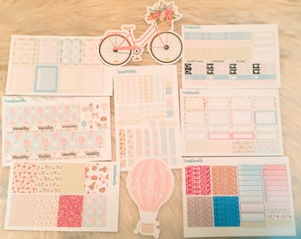 Bicycles and Balloons Weekly Planner Sticker Kit, Balloon Stickers, Bicycle Stickers, Planner Stickers, Perfect for EC Vertical