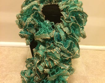 Green and Gold Sequins Ruffle Sashay Scarf