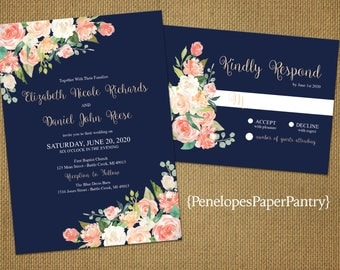 Romantic Navy Summer Wedding Invitation,Navy Blue,Coral,Peach,Ivory,Roses