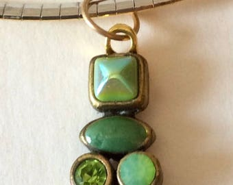 Vintage Green French Enamel Pendants with Bronze Framing