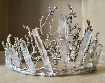 Men's Unisex ESME Crown - Full Wreath Branch Twig Tiara, Coral, Crystal Quartz Rock, Wedding, Groom, King, Game of Thrones, Prince, Festival