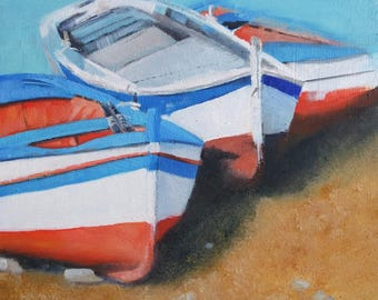 Original small oil painting of Sicilian fishing boats