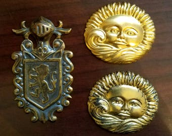 Brass Stampings- Large Sun ~ Large Heraldry Shield, Jewelry Art Supply, Scrapbooking Mosaic Supply