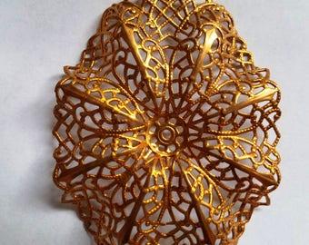 Ornate Wavy Filigree Brass Connector Jewelry Supply, Craft Supply