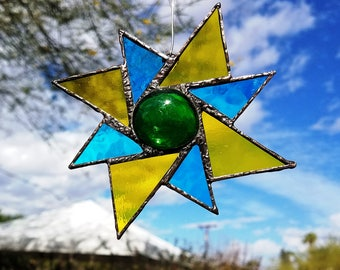 Stained Glass 8 Point STAR Suncatcher - Unique Deco Soldering- Beautiful Window Bling, Patio and Garden Decor