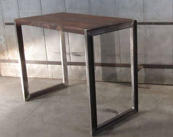 Industrial Table. Rcalimed Wood Table. Steel Table.