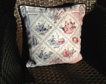 worked way French toile de Jouy cushion