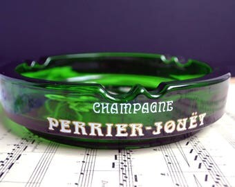 Rare Vintage Perrier Jouet Champagne Ashtray Old French Jade Green Glass Advertising Barware Art Deco