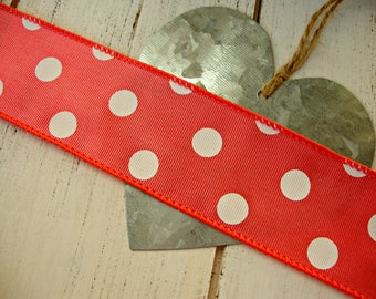 Coral Wired Grosgrain Ribbon with White Polka Dots
