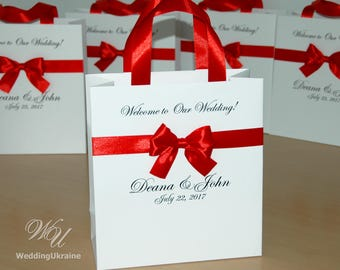 30 Elegant Wedding welcome Bags for guests with satin ribbon bow - Custom Personalized Red wedding Gift bags for wedding gifts and favors
