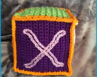 Letter X Soft Block, Hand Crocheted