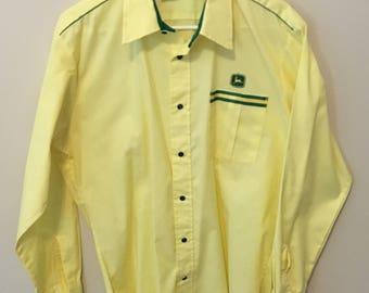 Vintage 70's John Deere tractors western style snap shirt - Large - Excellent Condition