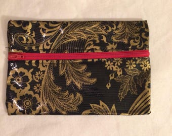 Oilcloth Zipper Pouch - Black w/ Gold Floral with Red Zipper
